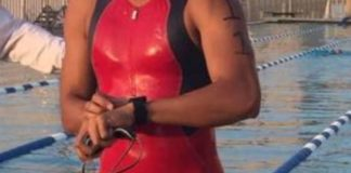 Bought this red triathlon suit for exactly this reason...when wet, it...