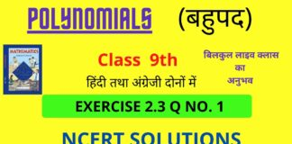 Polynomials Exercise 2.3 Q no.1 for class 9th NCERT || FALCON STARS